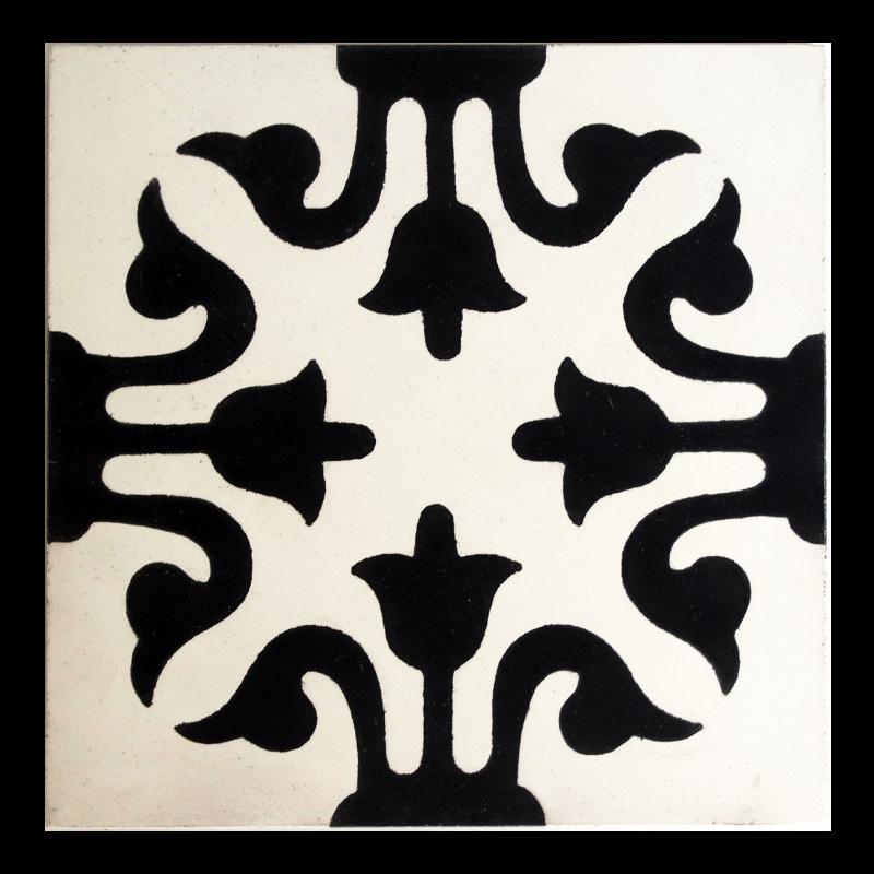 Carreaux de ciment noir et blanc motif pointe de lance