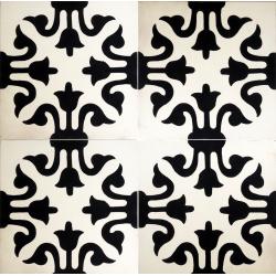 carreaux de ciment médiéval noir et blanc