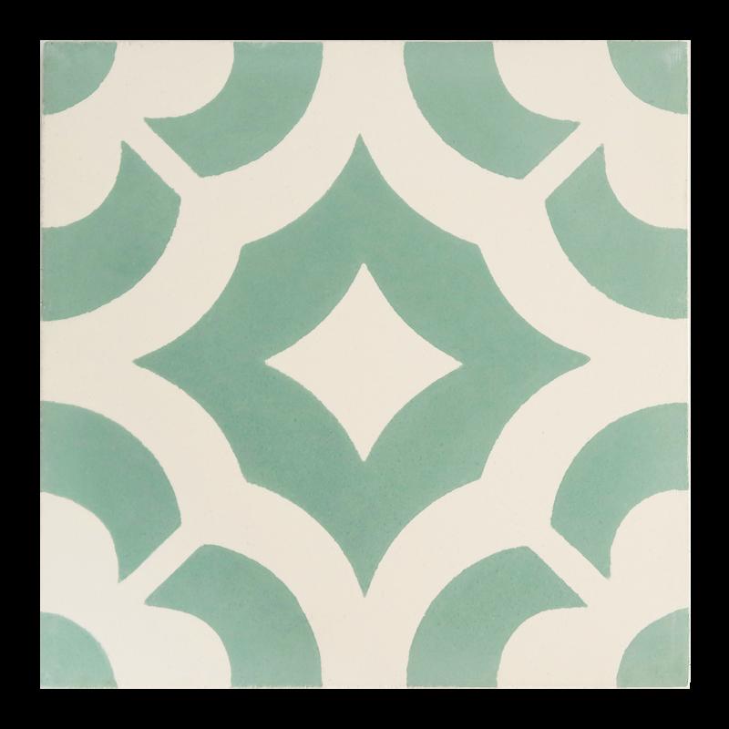 carreaux de ciment vert et blanc motif