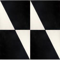 carreaux de ciment noir et blanc motif contemporain