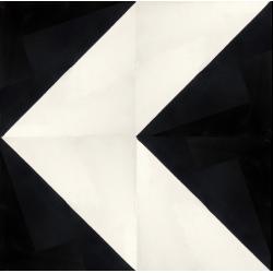 carreaux de ciment noir et blanc chevron motif