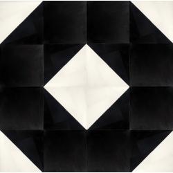carreaux de ciment noir et blanc motif polygone